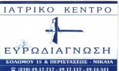 ΕΥΡΩΔΙΑΓΝΩΣΗ  - ΔΙΑΓΝΩΣΤΙΚΟ ΙΑΤΡΙΚΟ ΚΕΝΤΡΟ ΝΙΚΑΙΑ - ΙΑΤΡΙΚΟ ΚΕΝΤΡΑ ΝΙΚΑΙΑ
